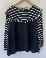 BOHEMIAN TRADERS Gorgeous Navy Long Sleeve Top Blouse Size M NEW