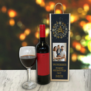 Personalised Wine Box Black Wreath Great Christmas Gift Add Any Photo & Text