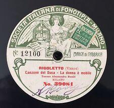 """RARE 78RPM 11"""" FONOTIPIA TENORE ALESSANDRO BONCI LA DONNA E' MOBILE RIGOLETTO"""