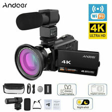 4K 1080P 48Mp WiFi Digital Video Camera Camcorder Recorder +0.39X Lens Mic Y8P3