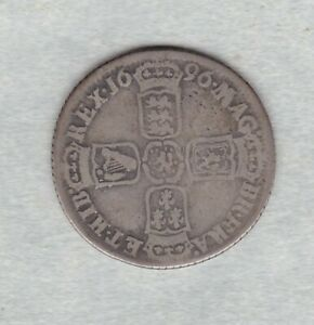 1696y WILLIAM III SILVER SHILLING IN A USED FINE CONDITION.