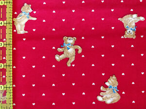 Lot 1060 Cranston, 1.33 Yards, Teddy Bears & Hearts, Looks Like Quilting Cotton