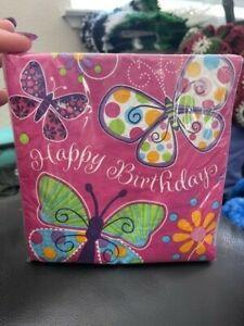 Butterfly Sparkle Luncheon Napkins Happy Birthday Event Spring Summer Rebirth