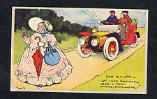 c1980s Reproduction Comic/ Cartoon Card by Tom Browne: Deaf Old Lady & Car