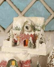 """Bethany Lowe 5"""" Tall Christmas Village Mantle House Red Siding and Santa"""