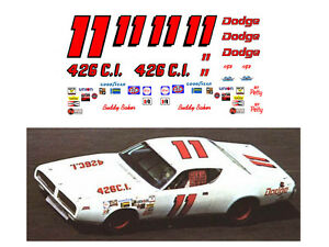 #11 Buddy Baker 1971 Dodge Charger decal 1/64 scale AFX Tyco Lifelike Autoworld