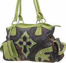 Green Camo Cross Western Rhinestone Purses Concealed Carry Handbags