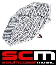 MINI TRAVEL UMBRELLA WHITE SHEET MUSIC MUSICAL NOTES with EASY CARRY POUCH NEW