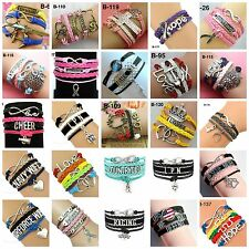 Fashion Leather Cute Infinity Charm Bracelet Jewelry Wholesale Lots US Seller
