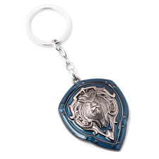 World of Warcraft WOW Alliance Lion's Head Shield Keychain Key Ring Pendant Blue