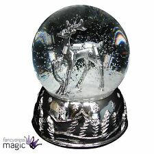 Gisela Graham Glass Silver Stag Christmas Music Dome Snow Globe Decoration Gift