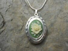 ROSE CAMEO LOCKET NECKLACE-CREAM/YELLOW ON GREEN-.925 SILVER PLATED- QUALITY!!!!