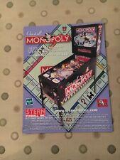 Stern Monopoly Pinball Flyer, NOS 2001
