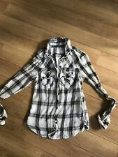 ALL SAINTS grey cream check fitted shirt top sz 6 wired collar Edge Long Sleeve