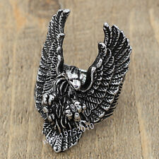 Cool Men's Silver Stainless Steel Flying Eagle Biker Ring Jewelry Size 9