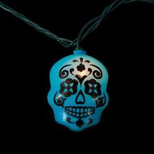 16 ft DAY OF THE DEAD LIGHTS Halloween skull SUGAR SKULLS light string NICE