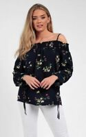 Womens Floral Bardot Off Shoulder Tops Ladies Casual Long Sleeve TShirt Blouse