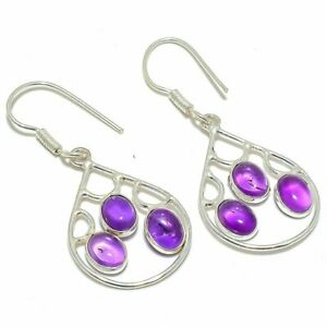"African Amethyst 925 Sterling Silver Jewelry Earring 1.9"" S2633"