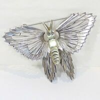 Vintage sterling silver wire wrap butterfly pin brooch Mexico TC-189, 3D brass