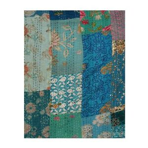 Indian Vintage Kantha Quilt Twin & Queen Size Silk Throw Boho Blanket Bedspread.