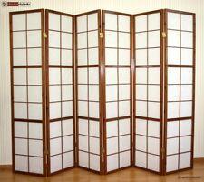 6 fach Paravents Raumteiler Trennwand Shoji in tabak Sichtschutz Spanische Wand