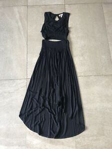 Free People Basic Beach Morningside Co-ord Crop Top & Skirt Set Black Size Small
