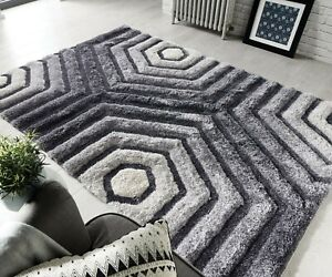 Hand Carved Shaggy Rug Geometric Silver Grey Living Bed Room Floor Carpet Rugs