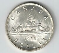 CANADA 1938 VOYAGEUR SILVER DOLLAR KING GEORGE VI CANADIAN SILVER COIN