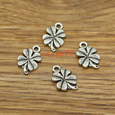 50 Clover Charm Good Luck 4 Four Leaf Clover DIY Charm Antique Silver 11x17 3133