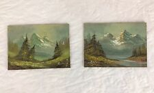Lot of 2 Rocky Mountains Original Landscape Oil Painting on Wood Panel Unknown