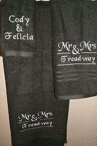 Mr & Mrs Monogram split Personalized 3 Piece Bath Towel Set ANY COLOR
