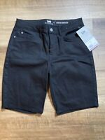 NWTS Lee Riders Size 8m Women's Mid Rise Denim Bermuda Shorts Black 197Mewo
