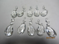LOT OF 10PC CHANDELIER CUT GLASS TEARDROP PRISMS WITH 2 BEADS