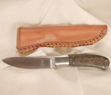 Russell (R.O.) Easler Handcrafted Fixed Blade Knife with Leather Sheath