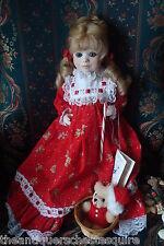"""Jerri McCloud all ceramic doll """"Candie"""", 17"""" tall, beautiful red dress"""