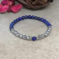 'Blue Goddess' Lapis Lazuli and Hematite Natural Stones Bracelet