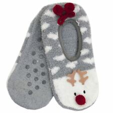 Foxbury Ladies Christmas Boucle Knit Rudolph Slipper Socks One Size