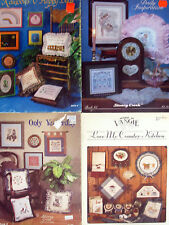 4 Counted Cross Stitch Leaflets - Stoney Creek, Country Kitchen, Pillows ++