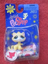 Littlest Pet Shop #1035 - Yellow Kitty with Pink Ice Cream Cone (Happiest Theme)