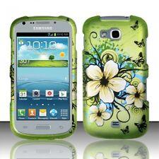 Samsung Galaxy Axiom R830 Rubberized HARD Protector Case Cover Hawaiian Flowers