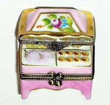 LIMOGES BOX - PINK FRUIT STAND & CANOPY - FLOWER AWNING - GROCER'S SCALE INSIDE