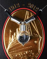 TITANIC COAL 100TH ANNIV SILVER PLATED & GLASS TEARDROP NECKLACE W/COA AUTHENTIC