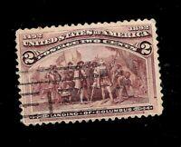 US 1893  Sc# 231  2 c  COLUMBIAN Used - Light Cancel  - Crisp Color