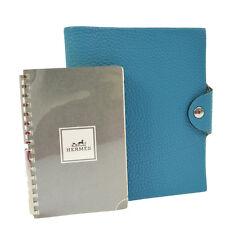 Auth HERMES Logos Agenda Notebook Cover Light Blue Togo France Vintage AK12717