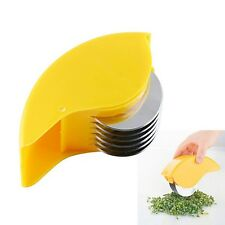 Palm Mincer Rolling Herb Finger Stainless Steel Blade Chop Dice Kitchen Gadget