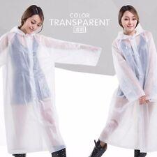 2PCS Adults Women Men transparent Clear White Recyclable Raincoat Poncho UK FAST
