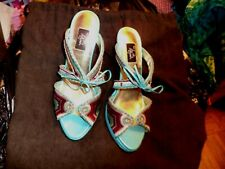 Hot in Hollywood heels sandals shoes womens size 8 fabric and leather