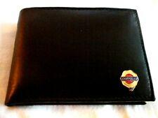 Vintage Chrysler Italian Leather Bi Fold Mens Black Wallet