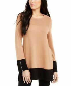 Alfani Women Sweater Beige Size Small S Ottoman Zip-Trim Colorbock Tunic $59 165