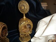 vtg perfume bottle ONE Gold Filigree Ormolu metal w 3 sides bevel Amber Glass